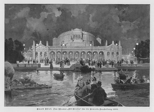 The Alt-Berlin Theatre, built for the Great Industrial Exposition of Berlin, Germany, 1896. Illustration from Zur gute Stunde (Deutsches Verlagshaus Bong & Co, 1895).