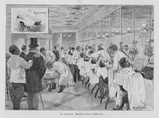 Barbershop in Chicago, Illinois, USA. Illustration from Zur gute Stunde (Deutsches Verlagshaus Bong & Co, 1895).