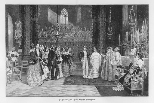Spanish Wedding. Illustration from Zur gute Stunde (Deutsches Verlagshaus Bong & Co, 1895).