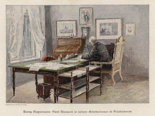Otto von Bismarck in his study at Friedrichsruh, Germany. Illustration from Zur gute Stunde (Deutsches Verlagshaus Bong & Co, 1895).
