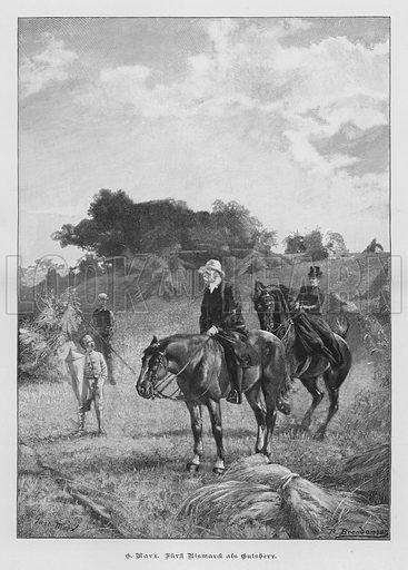 German statesman Otto von Bismarck as a country squire. Illustration from Zur gute Stunde (Deutsches Verlagshaus Bong & Co, 1895).