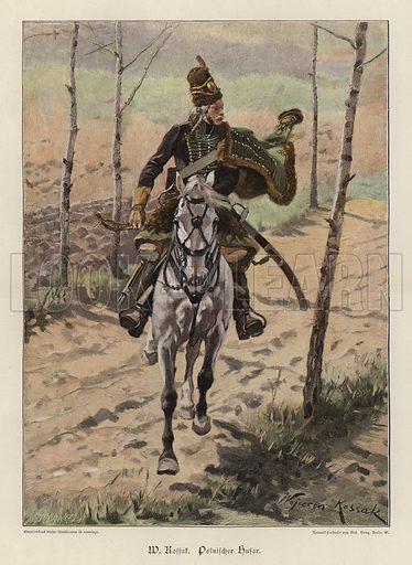 Polish Hussar. Illustration from Zur gute Stunde (Deutsches Verlagshaus Bong & Co, 1895).