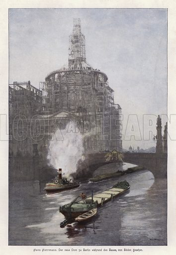 The new Berlin Cathedral during its construction, viewed from the south. Illustration from Moderne Kunst in Meister-Holzschnitten (Richard Bong, Berlin, c1904).