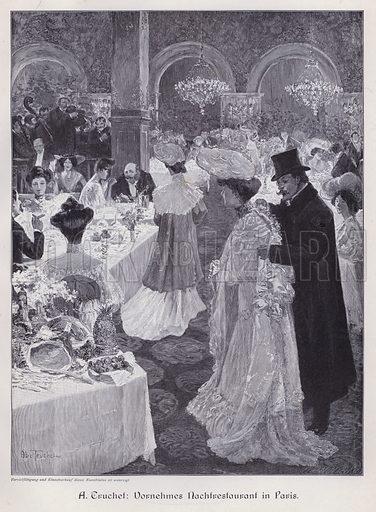 Evening in an Elegant Restaurant in Paris. Illustration from Moderne Kunst in Meister-Holzschnitten (Richard Bong, Berlin, c1904).
