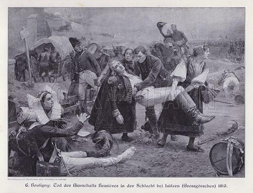 Death of Marshal Bessieres at the Battle of Lutzen, 1813. Illustration from Moderne Kunst in Meister-Holzschnitten (Richard Bong, Berlin, c1904).