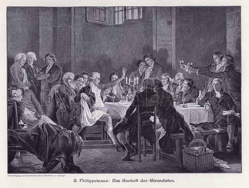 The Banquet of the Girondins. Illustration from Moderne Kunst in Meister-Holzschnitten (Richard Bong, Berlin, c1904).