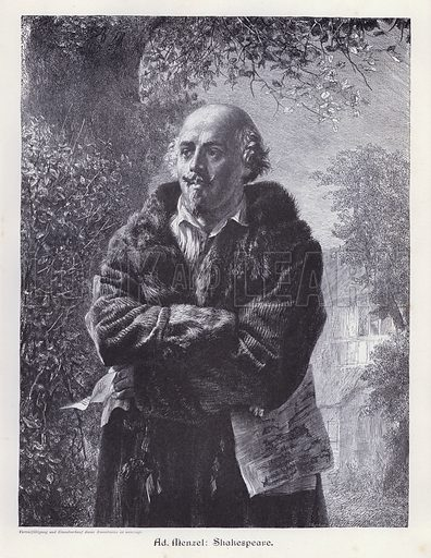 William Shakespeare, English playwright. Illustration from Moderne Kunst in Meister-Holzschnitten (Richard Bong, Berlin, c1904).