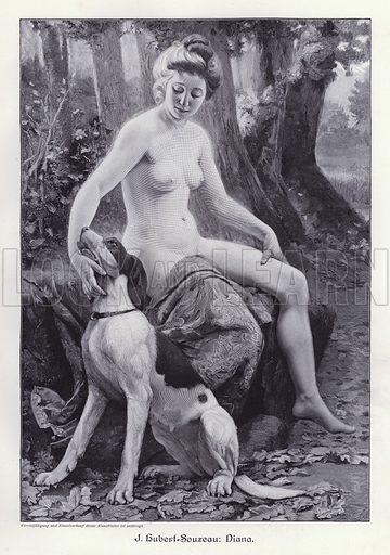 Diana, Roman goddess of the hunt and wild animals. Illustration from Moderne Kunst in Meister-Holzschnitten (Richard Bong, Berlin, c1904).