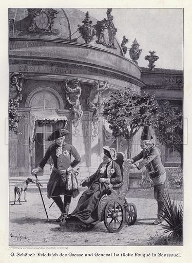 Frederick the Great of Prussia and General la Motte Fouque in the gardens of Sanssouci, Potsdam. Illustration from Moderne Kunst in Meister-Holzschnitten (Richard Bong, Berlin, c1904).