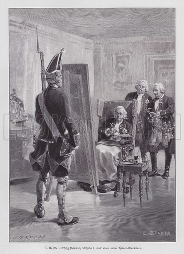 King Frederick William I of Prussia painting a grenadier of his Potsdamer Riesengarde (Giant Guard of Potsdam). Illustration from Moderne Kunst in Meister-Holzschnitten (Richard Bong, Berlin, c1904).