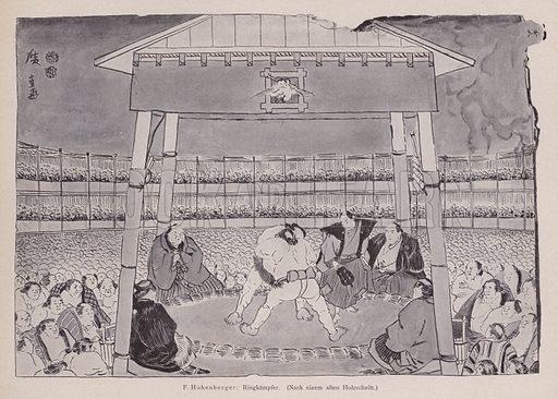 Sumo wrestling. Illustration from Moderne Kunst in Meister-Holzschnitten (Richard Bong, Berlin, c1904).