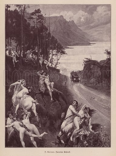 Satyrs and nymphs frightened by a motor car. Illustration from Moderne Kunst in Meister-Holzschnitten (Richard Bong, Berlin, c1904).