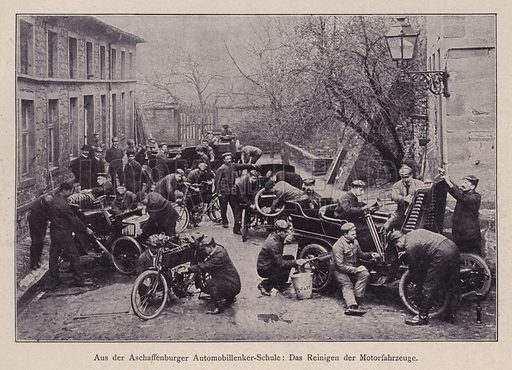 Cleaning cars and motorcycles at the Aschaffenburg Motoring School, Germany. Illustration from Moderne Kunst in Meister-Holzschnitten (Richard Bong, Berlin, c1904).