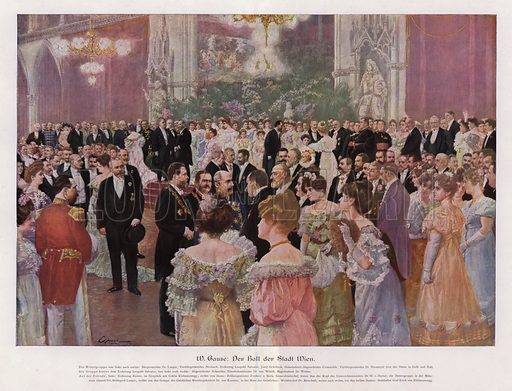 The Ball of the City of Vienna; Austria. Illustration from Moderne Kunst in Meister-Holzschnitten (Richard Bong, Berlin, c1904).