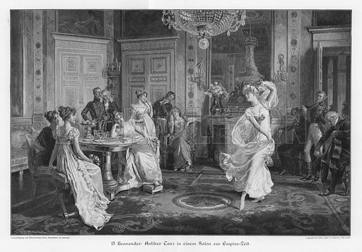 Antique dance in a salon in the time of the French First Empire. Illustration from Moderne Kunst in Meister-Holzschnitten (Richard Bong, Berlin, c1904).