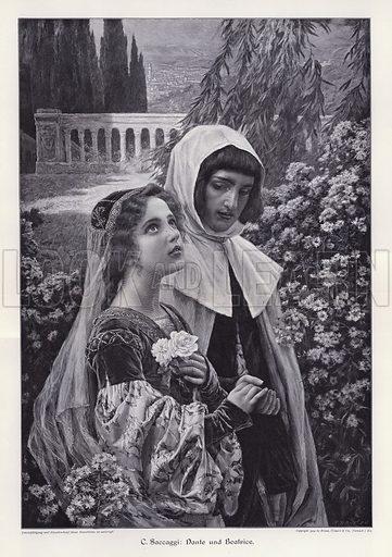 Dante and Beatrice. Illustration from Moderne Kunst in Meister-Holzschnitten (Richard Bong, Berlin, c1904).