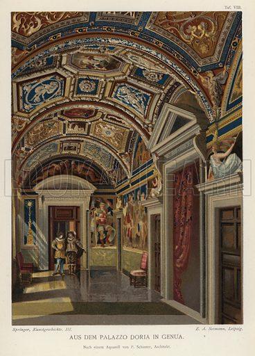Interior of the Palazzo Doria, Genoa, Italy. Illustration from Handbuch der Kunstgeschichte, by Anton Springer (E A Seemann, Leipzig, 1895).