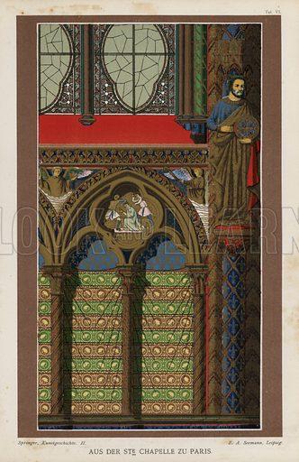 Interior detail from the Sainte-Chapelle, Paris, France. Illustration from Handbuch der Kunstgeschichte, by Anton Springer (E A Seemann, Leipzig, 1895).