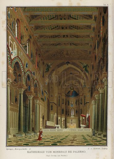 Interior, Cathedral of Monreale, Palermo, Sicily, Italy. Illustration from Handbuch der Kunstgeschichte, by Anton Springer (E A Seemann, Leipzig, 1895).