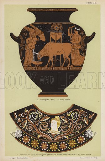 Ancient Greek storage jar and ornament from a censer. Illustration from Handbuch der Kunstgeschichte, by Anton Springer (E A Seemann, Leipzig, 1895).