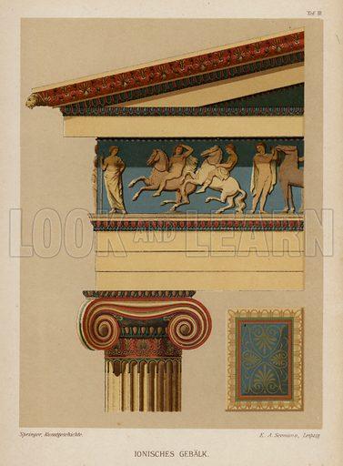 Ionic entablature, ancient Greek architecture. Illustration from Handbuch der Kunstgeschichte, by Anton Springer (E A Seemann, Leipzig, 1895).