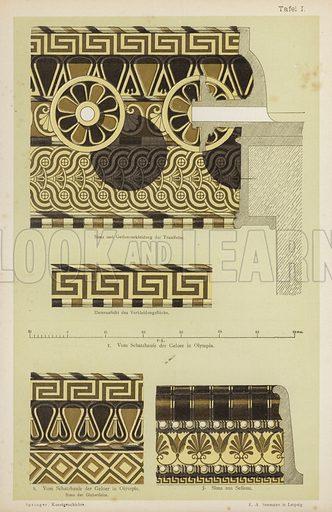 Ancient Greek architectural decoration. Illustration from Handbuch der Kunstgeschichte, by Anton Springer (E A Seemann, Leipzig, 1895).