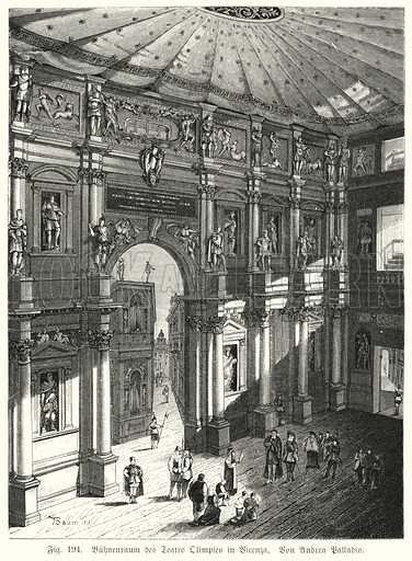 Auditorium and stage of the Teatro Olimpico, Piacenza, Italy, designed by Andrea Palladio. Illustration from Handbuch der Kunstgeschichte, by Anton Springer (E A Seemann, Leipzig, 1895).