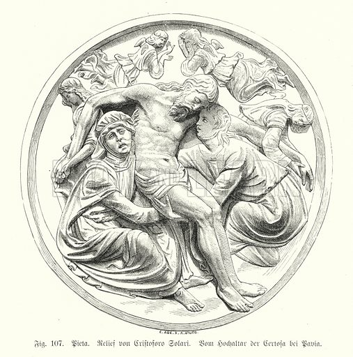 Pieta, relief by Cristoforo Solari from the High Altar of the Certosa di Pavia, Italy. Illustration from Handbuch der Kunstgeschichte, by Anton Springer (E A Seemann, Leipzig, 1895).