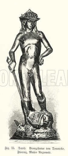 David, bronze statue by Donatello. Illustration from Handbuch der Kunstgeschichte, by Anton Springer (E A Seemann, Leipzig, 1895).