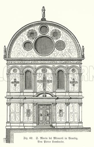 Facade of the Church of Santa Maria dei Miracoli, designed by Pietro Lombardo, Venice, Italy. Illustration from Handbuch der Kunstgeschichte, by Anton Springer (E A Seemann, Leipzig, 1895).