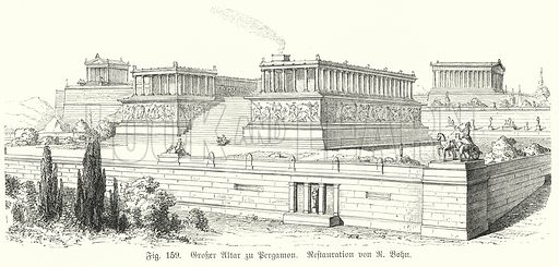 Reconstruction of the Great Altar at the Ancient Greek city of Pergamon, Asia Minor. Illustration from Handbuch der Kunstgeschichte, by Anton Springer (EA Seemann, Leipzig, 1895).