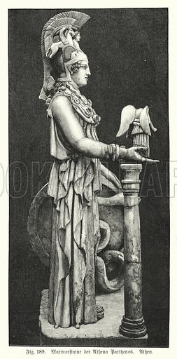 Marble statue of the Ancient Greek goddess Athena, from the Parthenon, Athens. Illustration from Handbuch der Kunstgeschichte, by Anton Springer (E A Seemann, Leipzig, 1895).