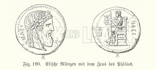Ancient Greek coins from Elis bearing images of the Zeus of Phidias. Illustration from Handbuch der Kunstgeschichte, by Anton Springer (E A Seemann, Leipzig, 1895).