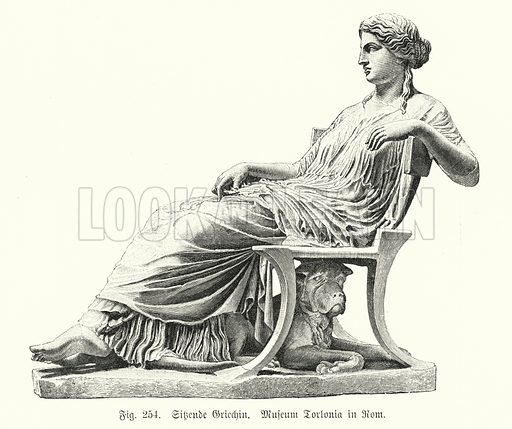 Ancient Greek statue of a seated woman. Illustration from Handbuch der Kunstgeschichte, by Anton Springer (E A Seemann, Leipzig, 1895).