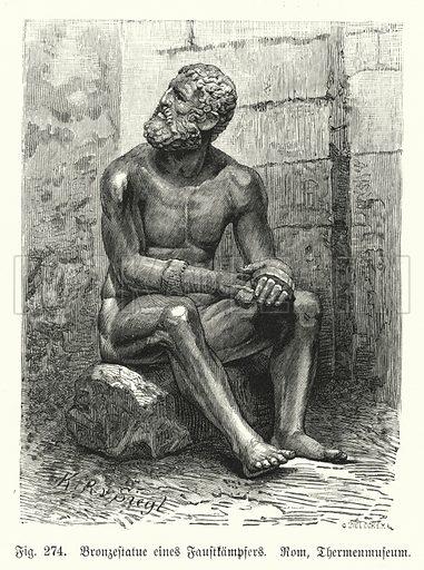 Ancient Greek or Roman bronze statue of a seated boxer. Illustration from Handbuch der Kunstgeschichte, by Anton Springer (E A Seemann, Leipzig, 1895).