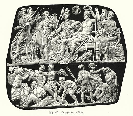 Gemma Augustea, ancient Roman onyx relief cameo engraved gem. Illustration from Handbuch der Kunstgeschichte, by Anton Springer (E A Seemann, Leipzig, 1895).