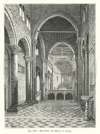 Interior of the Church of Santa Maria della Pieve, Arezzo, Italy. Illustration from Handbuch der Kunstgeschichte, by Anton Springer (E A Seemann, Leipzig, 1895).