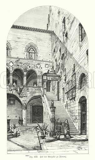 Courtyard of the Bargello, Florence, Italy. Illustration from Handbuch der Kunstgeschichte, by Anton Springer (E A Seemann, Leipzig, 1895).