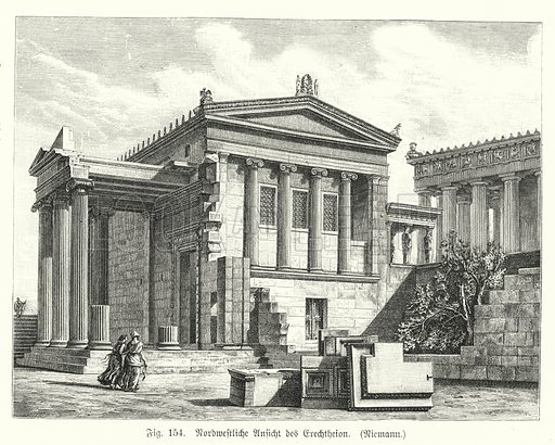Reconstruction showing the north-west view of the Erechtheion, Ancient Greek temple on the Acropolis, Athens. Illustration from Handbuch der Kunstgeschichte, by Anton Springer (E A Seemann, Leipzig, 1895).