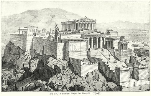 Reconstruction showing the Acropolis, Athens, during the time of the Ancient Greeks. Illustration from Handbuch der Kunstgeschichte, by Anton Springer (E A Seemann, Leipzig, 1895).