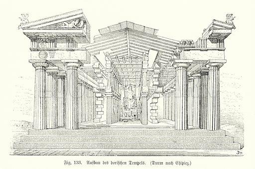 Construction of an Ancient Greek Doric temple. Illustration from Handbuch der Kunstgeschichte, by Anton Springer (E A Seemann, Leipzig, 1895).