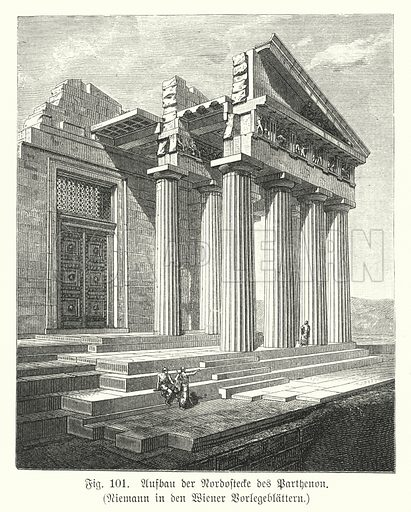 Construction of the north-east corner of the Parthenon, Athens, Ancient Greece. Illustration from Handbuch der Kunstgeschichte, by Anton Springer (E A Seemann, Leipzig, 1895).