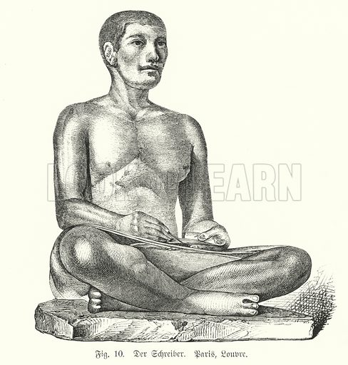 Ancient Egyptian figure of a seated scribe. Illustration from Handbuch der Kunstgeschichte, by Anton Springer (E A Seemann, Leipzig, 1895).