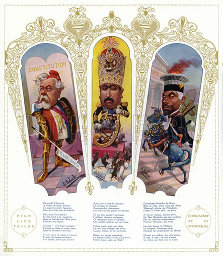 Caricatures: Armand Fallieres, French politician and President; Mohammad Ali Shah Qajar, Shah of Persia; Paul Magnaud, French magistrate and politician. Illustration from Nos Celebrites Contemporaines, album published for the High Life Tailor shop in Paris, 1909.
