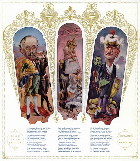 Caricatures. Illustration from Nos Celebrites Contemporaines, album published for the High Life Tailor shop in Paris, 1909.
