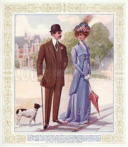 Men and women's fashions from High Life Tailor, Paris. Illustration from Nos Celebrites Contemporaines, album published for the High Life Tailor shop in Paris, 1909.