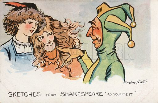 Scene from Shakespeare's play As You Like It. Postcard, early 20th century.