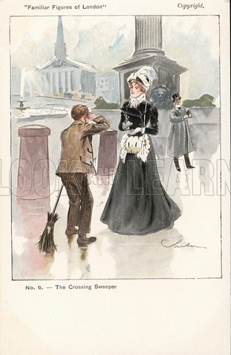 Crossing sweeper with a woman in Trafalgar Square, London. Postcard, early 20th century.