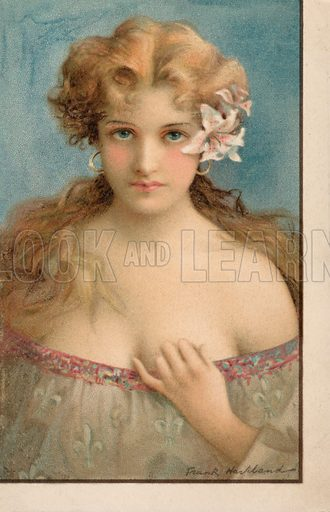 Portrait of a young woman with flowers in her hair. Postcard, early 20th century.