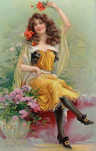 Portrait of a young woman with flowers. Postcard, early 20th century.